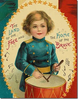 Land of the free vintage postcard