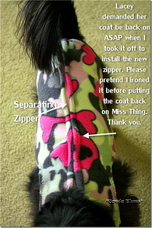 zippered fleece dog coat