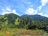 Looking up at the long mountain ridge south of Palu of which Bulu Nti is a notable high point (Dan Quinn, June 2013)