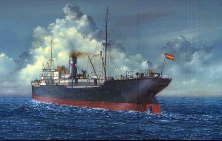 La partida del vapor YUTE. Oleo sobre lienzo de Guillermo Coll Llopis. Portada del libro de referencia.jpg