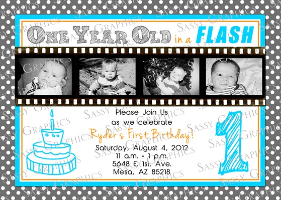 One Year Old in a Flash Invitation-1