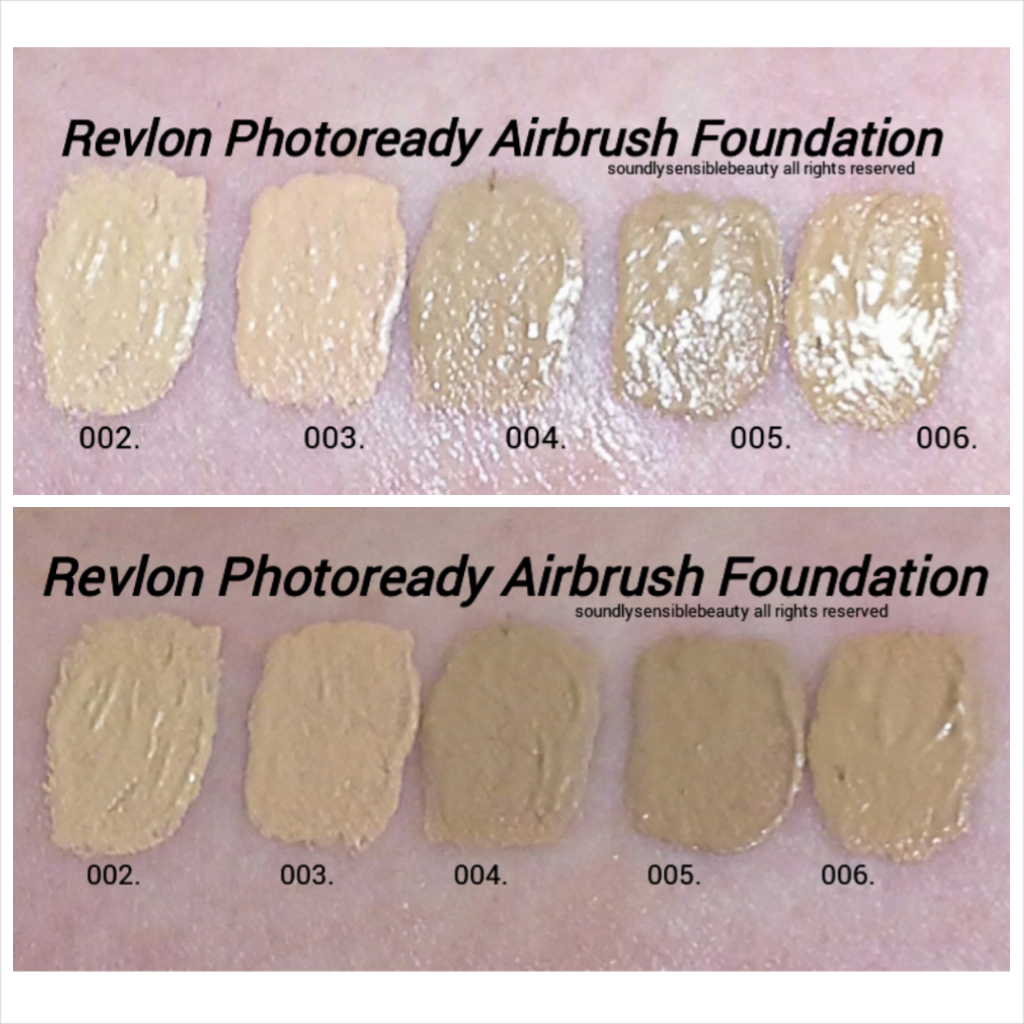 Revlon Photoready Airbrush Effect Foundation Swatches of Shades 002 Vanilla, 003 Shell, 004 Nude