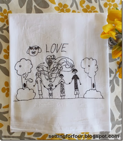 Turn Kid's Art into Tea Towels