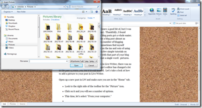 livewriter home toolbar closeup picture options window