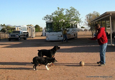Meg, Mac, and Odel play ball