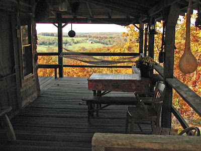 The Porch at Aunt Phoebe's log cabin