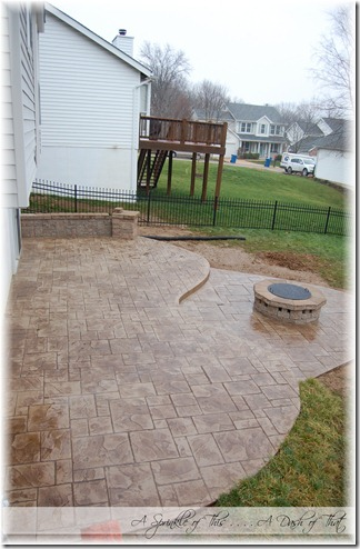 Backyard stamped concrete patio {A Sprinkle of This . . . . A Dash of That}