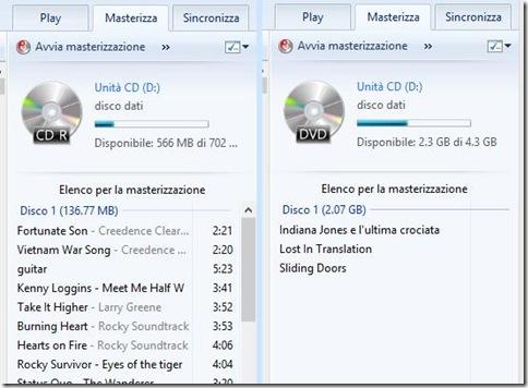 Windows Media Player file aggiunti all'elenco per la masterizzazione
