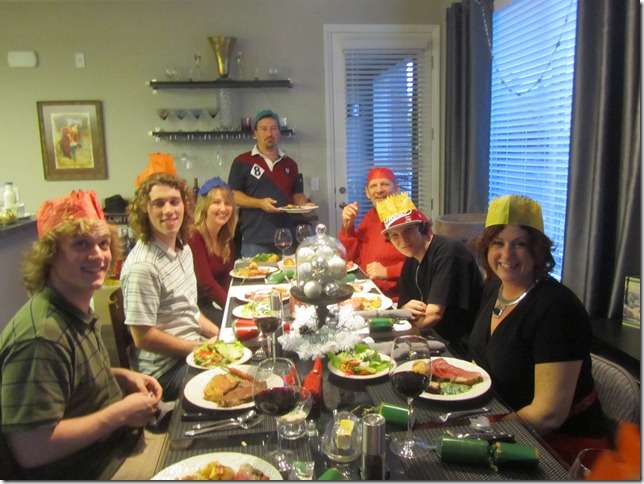 Christmas dinner with our crowns on