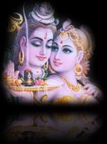 Siva y Shakti, sosteniendo en sus manos el símbolo lingam-yoni (falo-vulva sagrados)
