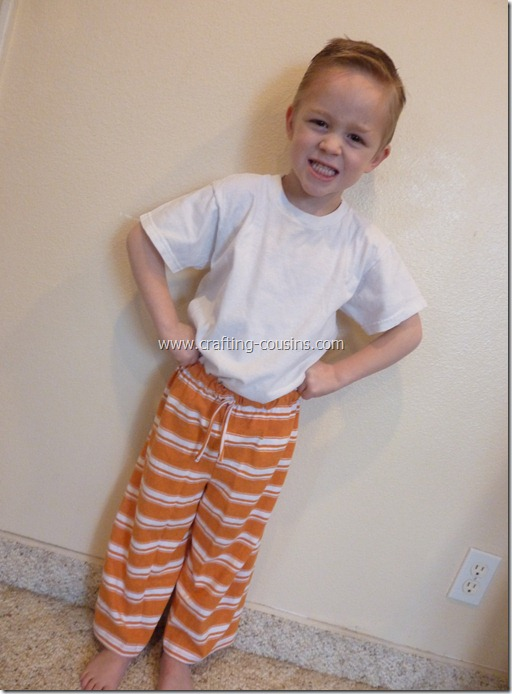 Make a pair of children's pajama pants from a tee shirt.  Check it out at Crafty Cousins (19)