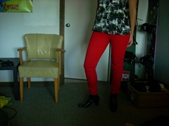 Skinny coloured jeans red guess brittney ankle