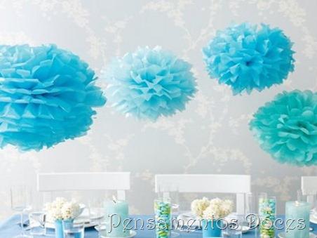 Pompom de seda azul