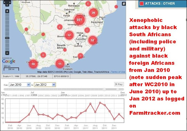 XENOPHOBIC ATTACKS BLACK SAns AGAINST BLACK AFRICAN FOREIGNERS JAN2010 TO JAN 2012