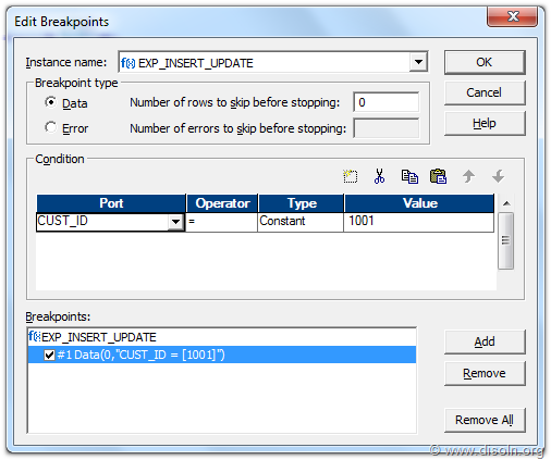 Informatica PowerCenter Mapping Debugger BreakPoint