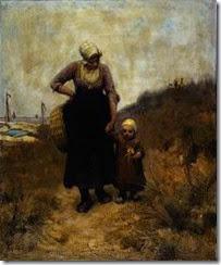 BernardusJohannes(Bernard)Blommers-MotherandChildonaPathbytheSea-S