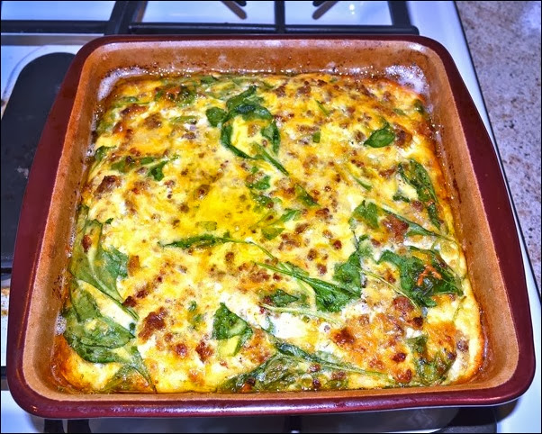 cooked spinach and egg casserole
