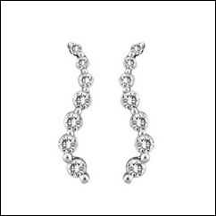 Round Diamond Curved Journey Earrings in 10k White Gold