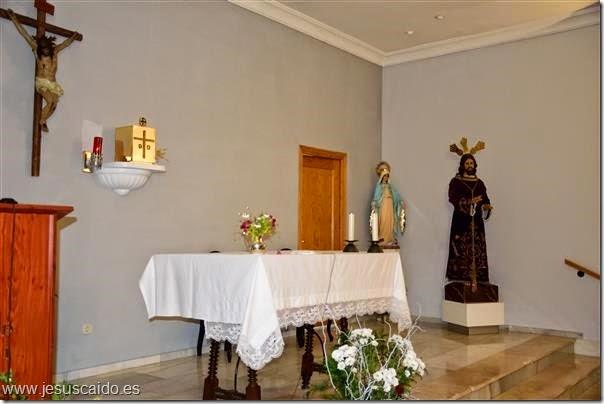 La imagen sobre el Altar Mayor de la capilla de la Virgen del Carmen