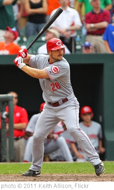 'Cincinnati Reds left fielder Chris Heisey (28)' photo (c) 2011, Keith Allison - license: http://creativecommons.org/licenses/by-sa/2.0/