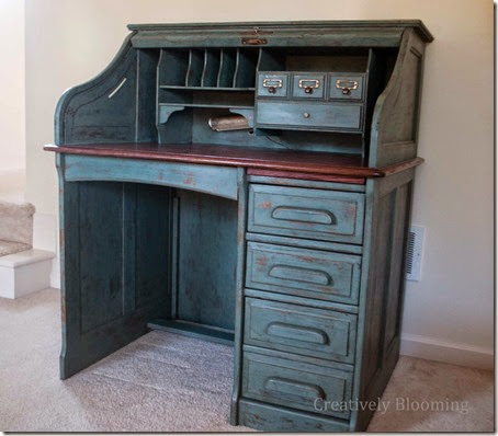Refinishing a Roll Top Desk with Milk Paint