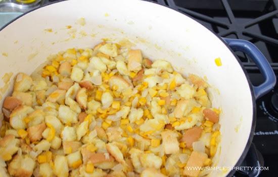 Add bread cubes from www.simpleispretty.com