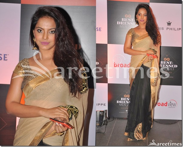 Neetu_Chandra_Half_and_Half_Saree