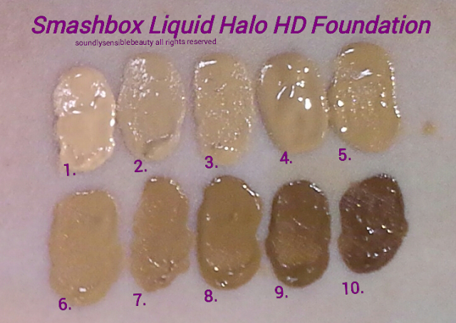 Smashbox Halo High Definition Foundation Swatches of Shades #1, #2, #3, #4, #5, #6, #7, #8, #9, #10