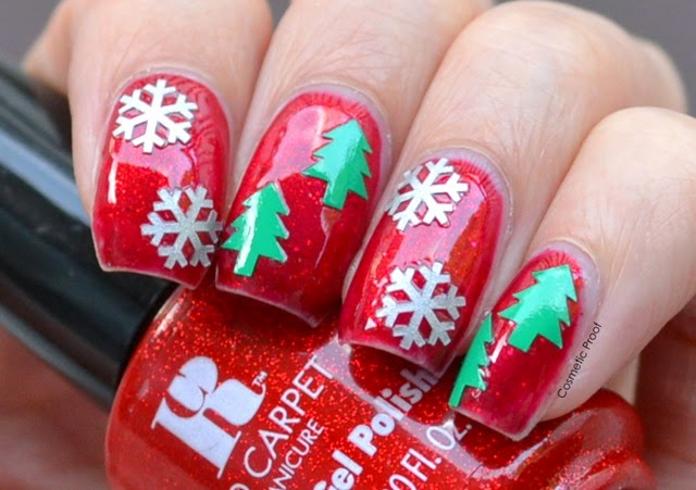 Nail Art Merry Christmas With Red Carpet Manicure Gel Polish In