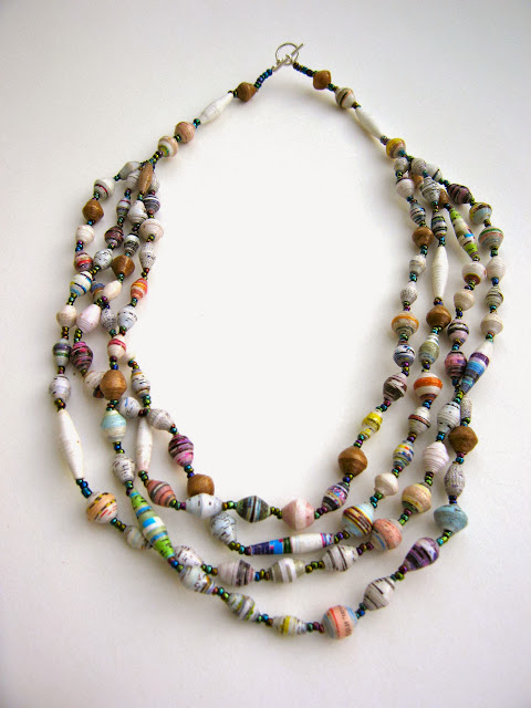 KAREN: 4-Strand Paper Bead Necklace