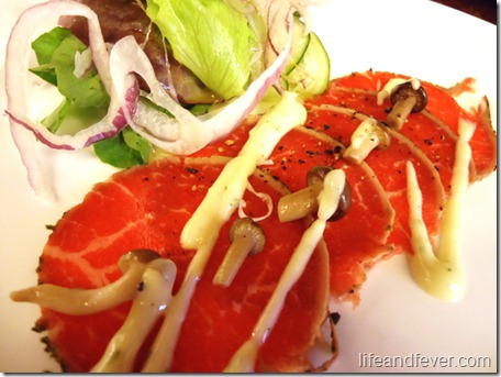 Herb-crusted beef carpaccio
