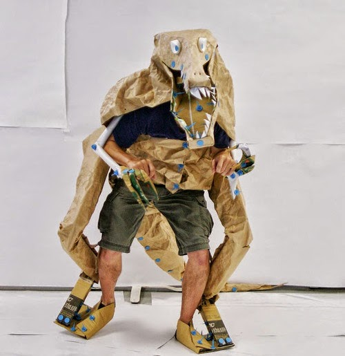 Cardboard Dinosaur Costume via Make