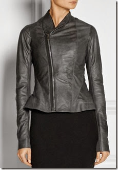 Rick Owens Grey Leather Biker Jacket