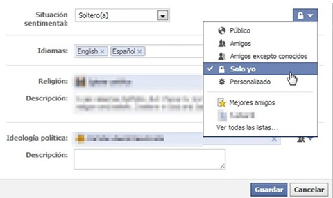 Personalizar estado sentimental en Facebook