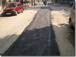 The uneven Tar road