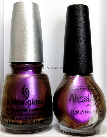 China Glaze No Plain Jane vs Nicole by OPI Iris My Case.