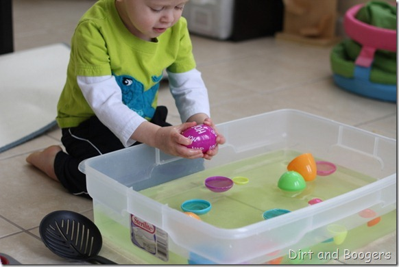 plastic easter eggs, easter egg match up, preschool play