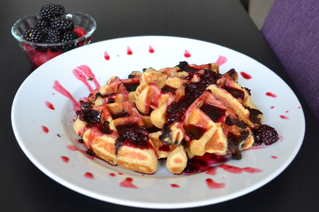 Chocolate Chip Blackberry Waffles