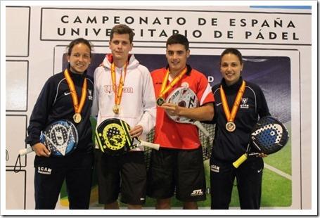 Finaliza el Campeonato de España Universitario de Pádel 2014. Llaguno & Amatriain Campeonas. Criado & Benavides Campeones. UCAM Oro.