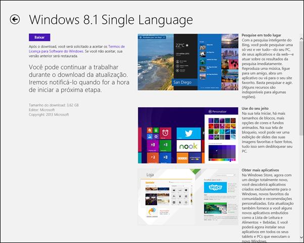 Clique em Baixar para fazer o download do Windows 8.1