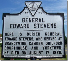 General Edward Stevens - G-10 in Culpeper County, VA