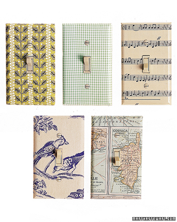 Bring some pattern to your switchplates with wallpaper. (marthastewart.com)
