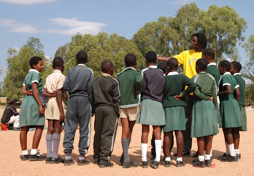 Clarence teaches students from Mawaba Primary School about HIV and AIDS during a Grassroot Soccer session in Bulawayo, Zimbabwe on May 18, 2005. AK