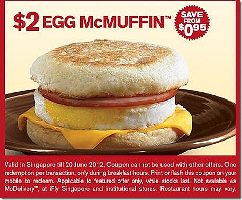 McDonalds $2 Egg Mcmuffin with chicken ham and cheese deal offer for breakfast Great Singapore SALE