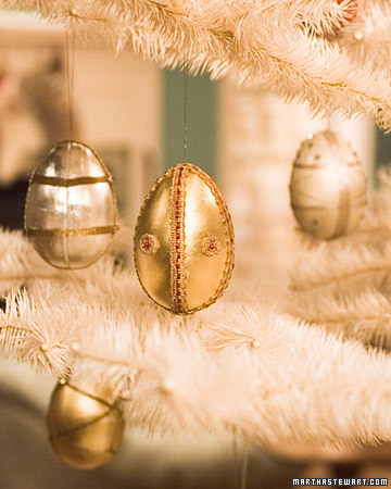 Make ornaments that shimmer with cardboard egg boxes, ornate beads, and trimmings.