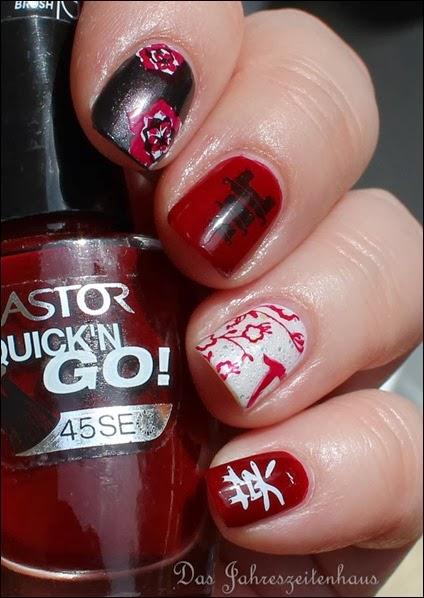 Nail Art Geisha Kirschblüte Japan Asien Design 8