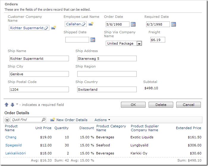 Subtotal data field is present in editForm1 of Orders.