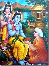 Shabari greeting Rama and Lakshmana
