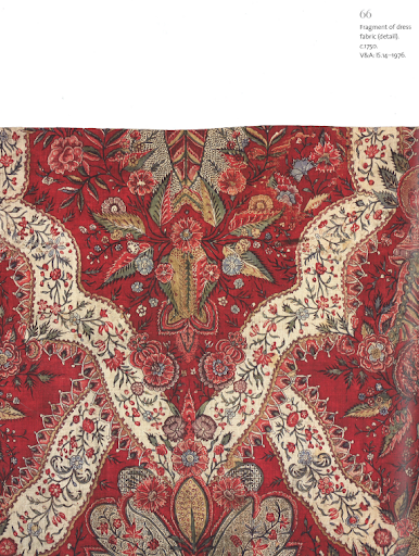 The color and design of this fabric is so rich. Fragment of a dress circa 1720-1730.