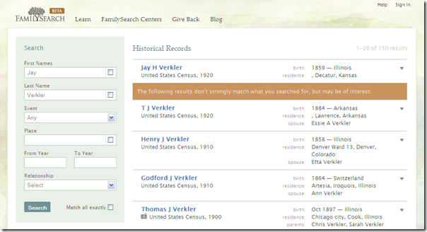 Beta FamilySearch.org stacked information in search resuls